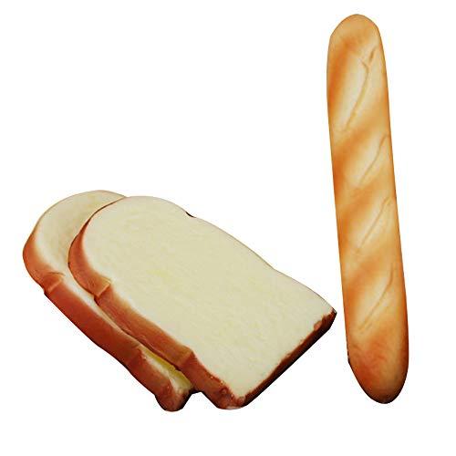 Merssavo 3 Stück Simulation PU Brot Modell Drücken Langsam Rebound Weiche Duftenden Brot Spielzeug Dekoration Schränke Display Requisiten