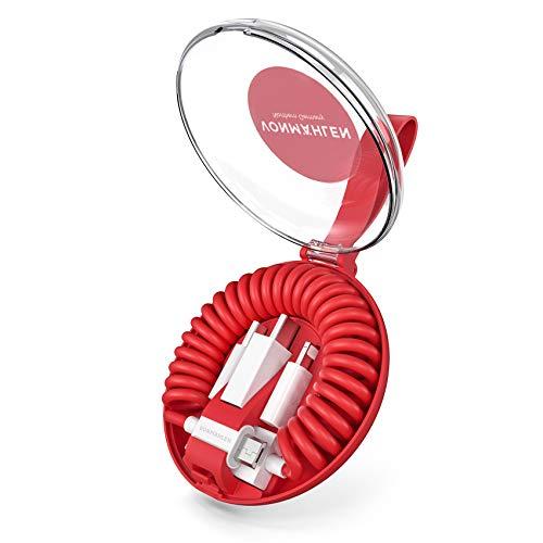 VONMÄHLEN allroundo All-in-One Ladekabel in Rot mit 5 Anschlüssen & Spiralkabel - USB-A, Micro-USB, USB-C - 6in1 Universal Kabel mit Adapter zum Laden für Handy & Mobile Endgeräte -