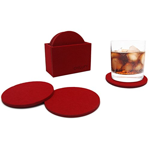 Chillify Getränke-Untersetzer aus Filz - Glasuntersetzer für Bar, Tisch, Gläser 8er Set mit Box rund rot