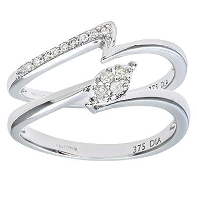 Naava 9ct White Gold 0.10ct Diamond Crossover Bridal Set Ring