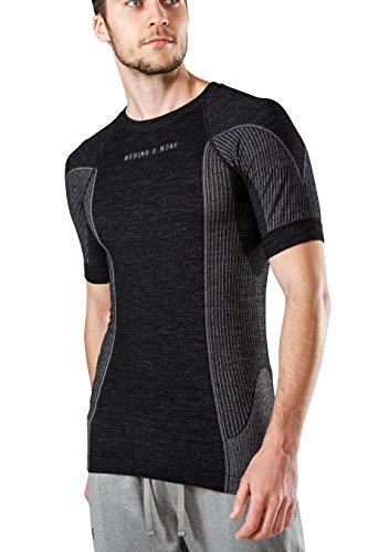 MERINO & MORE Herren-Funktionsunterhemd und Sport-Funktionsshirt aus hochwertiger Merinowolle in leistungsf䨩gem 2-Schichten-System. Schweiߡbleitend, w䲭eregulierend, geruchsneutralisierend. Gr. XL