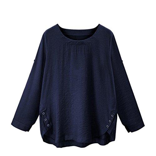 BHYDRY Frauen O Kragen Lose Langarm Shirt Casual Bluse Button-Down-Tops(4XL,Dunkelblau)