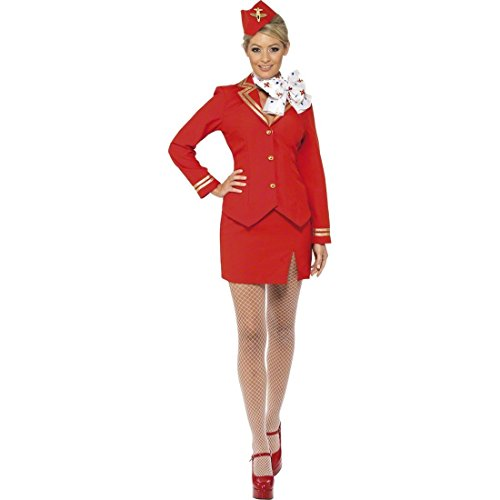 Sexy Stewardess Kostüm Flugbegleiterin Rot L 44/46 Stewardessenkostüm Stewardess Uniform Damenkostüm Pilotin Hostess