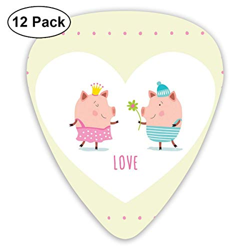 Celluloid Guitar Picks - 12 Pack,Abstract Art Colorful Designs,Cute Cartoon Animals Illustration Of Boy Handing Flower To Girl In Love Heart Frame,For Bass Electric & Acoustic Guitars.