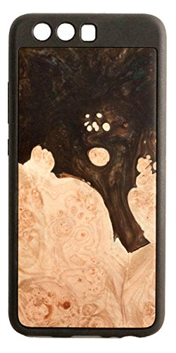 Wurzelholz Natur (modernwood Huawei P10Schutzhülle Einzigartige Handgefertigt Echt Holz Wurzelholz & Artistic Swirl aus Resin Textur Creative Design Rückabdeckung mit Schutzhülle, Gummi Bumper, Dark Chocolate)
