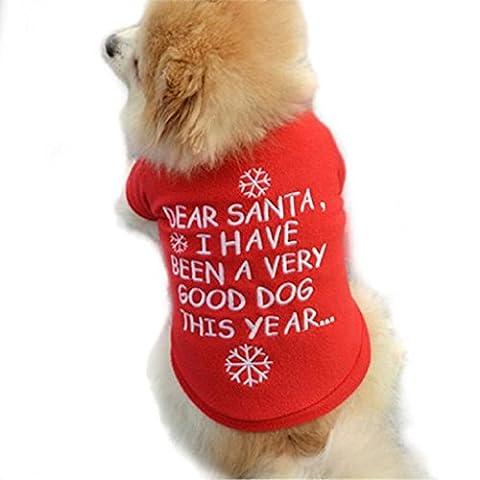 Loveso-Haustier Hunde Kleider Bekleidung Weihnachten Netter Hund Welpen Warme Pullover Hochwertige gestickte Kleidung (S, (Hund Tragen Weihnachten Kostüm)