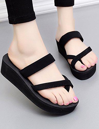 Neue Sommerkühle Pantoffeln Weibliche hochhackige Anti-Rutsch-Pantoffeln Sandwich-Sandsandalen ( Farbe : 1 , größe : EU37/UK4.5-5/CN37 ) 1