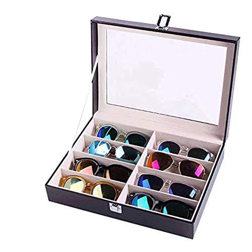 FIONAT Schmuckkästchen Leder Transparent Brille Display Stand Sonnenbrille Display Box Aufbewahrungsbox Sammelbox Uhr Schmuckschatulle