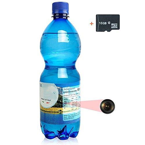 WISEUP 16GB 1920x1080P HD Micro Caméra Espion Dissimulée Bouteille Plastique avec Fonction Enregistreur Vocal