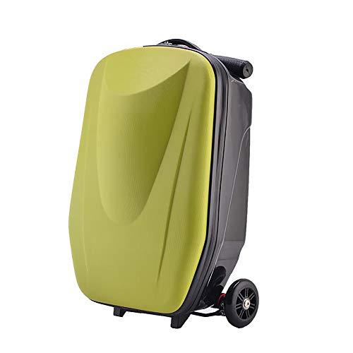 AUNLPB 20-Zoll-Gepäckroller, dreirädriger Handgepäckkoffer, zusammenklappbarer Roller, aufsitzbares Handgepäck für die Reiseschule und das Geschäftsleben,Green