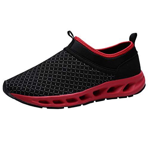fazry Hommes des Chaussures Été Creux Engrener Respirant Baskets Antidérapant Résistant à l'usure Baskets(40 EU,Rouge