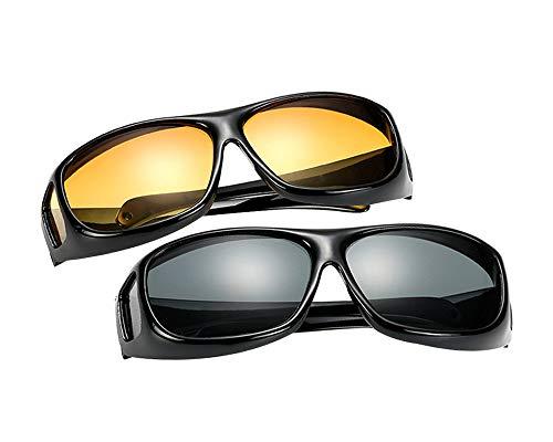 BOZEVON Überzieh-Sonnenbrille für Herren und Damen - Polarisiert Nachtsichtbrille   Sonnenbrille UV400 Fit-over für Brillenträger 2er-Set, 2 Stück Sonnenbrille