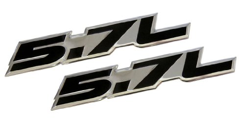 2 X 5.7L Liter in BLACK on SILVER Highly Polished Aluminum Car Truck Engine Swap Nameplate Badge Logo Emblems (pair/set of 2) for Toyota Tundra Sequoia V8 Chevy 350 Tahoe Suburban 1500 Camaro Impala Caprice SS Corvette Z06 LS1 LS6 Dodge Challenger Charger Magnum RT HEMI Ram Durango Cadillac CTS-V CTS Chrysler 300 C300 Pontiac GTO Trans Am LT1 GMC Sierra Yukon XL Pick Up
