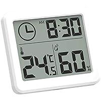 JIACUO Termómetro Digital multifunción, higrómetro, Monitor electrónico automático de Temperatura y Humedad, Reloj, Pantalla LCD de 3,2 Pulgadas