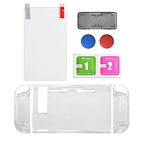 Protective Accessories Bundle,Screen Protector for Nintendo Switch Replacements Thumb Caps for Nintendo Switch Joy-con with Neon Blue /Neon Red(Clear
