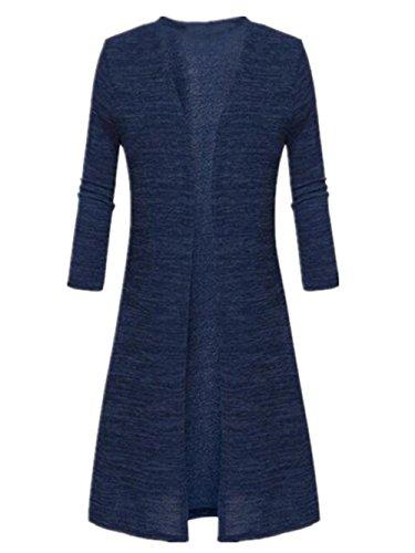 AILIENT Cardigan Lungo Donna Semplice Slim Manica Lunga Moda Caldo Cappotto Maglieria Sottile Outwear Comode Top Plus Cashmere Blue