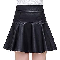 Helan Mujeres corta de cuero atractivo de la PU de la alta cintura faldas plisadas Negro EU 42/44