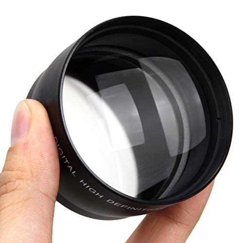 Hermosairis 52mm 58mm 2.0X Teleobjektiv für Nikon D90 D80 D700 D3000 D3100 D3200 D5000 D5100 D5200 18-55mm DSLR Kameras