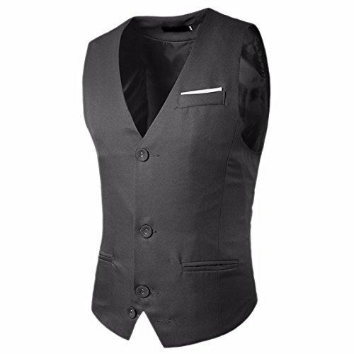 QIYUN.Z Hommes Décontractés Slim Fit Skinny Robe Veste Texture Costume Gilet Gris