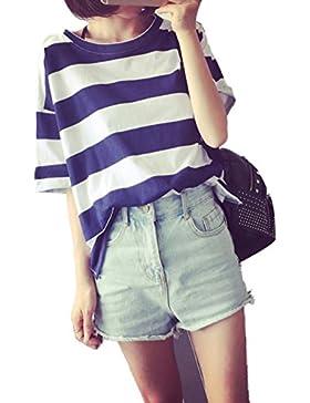 Freestyle Mujer Verano Camisetas Sweatshirt Casual Suelto Rayas Blouses T-Shirt Blusa Pullover Moda Cuello Redondo...