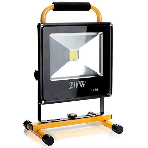 Hengda 20W LED Akku Baustrahler IP66 Wasserdicht LED Arbeitsscheinwerfer Bauscheinwerfer 6000K Kaltweiß Arbeitsleuchte Strahler Fluter für Innen und Außenbereich - Gelb