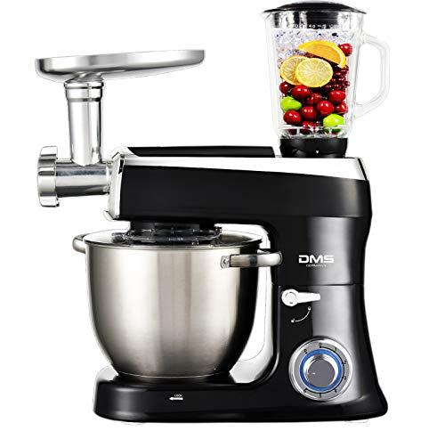 DMS 3in1 Küchenmaschine Rührmaschine 7,5 Liter Knetmaschine Edelstahlschüssel Spritzschutz StandMixer Ice Crusher Fleischwolf Teigkneter 6-stufige Geschwindigkeit 2100 Watt Schwarz KMFB-2100 (Schwarz)