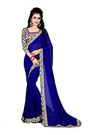 Oomph! Women's Chiffon Saree with Blouse Piece (rbaf_Berry Blue_Free Size)