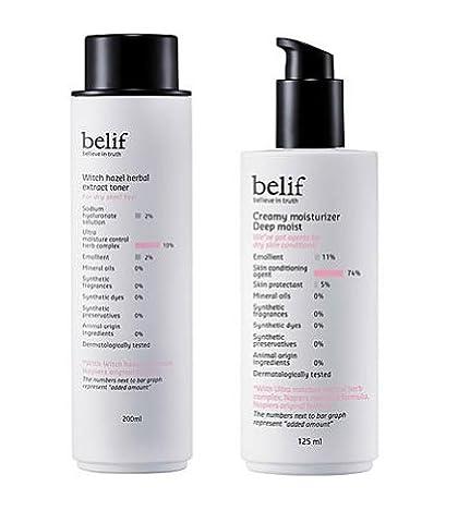 KOREAN COSMETICS, LG Household & Health Care_ belif, Set for dry skin (Witch Hazel Herbal Extract Toner 200ml + Creamy Moisturizer Deep Moist 125ml) (moisturizing, nutrition