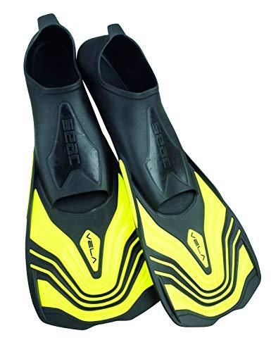 Seac Unisex- Erwachsene Vela Kurze Flossen zum Schwimmen im Schwimmbecken oder im Meer, gelb, 42-43 (Kurz Flossen Schwimmen)