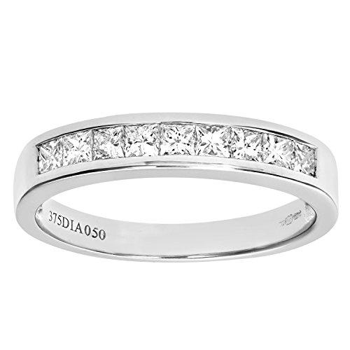 Naava Anillo para Mujer de Oro Blanco 9K con 9 Diamantes talla 10