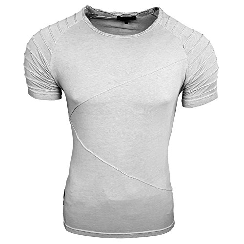 HERREN grau weiß grün T-Shirts Druck Größe S M L M XL XXL kurzarm Text RN15049 Grau