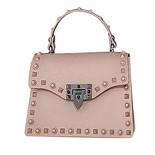 XZDCDJ UmhängeTaschen Damen Handtasche Mode Polish Rivet Jelly Bag Einzel Schulter Messenger Wasserdicht Bags Rosa