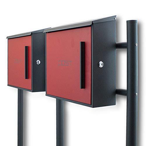 BITUXX® Freistehender Doppelstandbriefkasten Briefkastenanlage mit Seitenschloss und Post Schriftzug Dunkelgrau/Rot