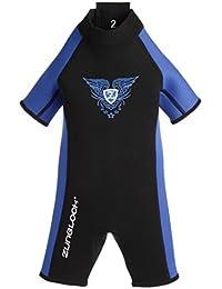 Zunblock Wetsuit warmupz Costume en néoprène enfant Noir/Royal 110/116