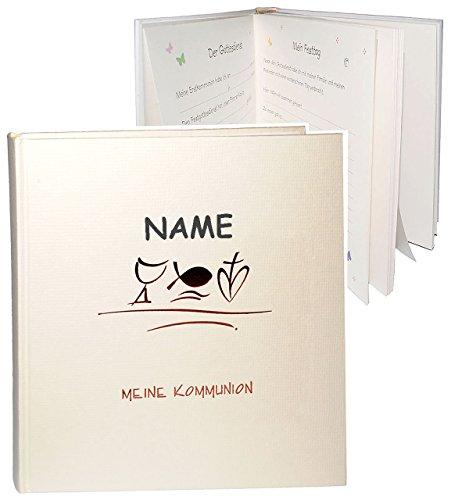 Fotoalbum / Kommunionsalbum -  Meine Kommunion  - incl. Name - Gebunden blanko - für bis zu 180 Bilder zum Einkleben - Fotobuch / Photoalbum / Album - Eucha..