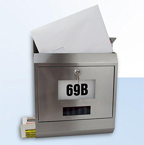 Metall Briefkasten mit Zeitungsrolle und beleuchteter LED-Glasfläche