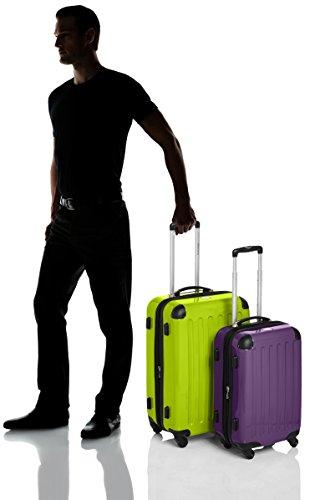 HAUPTSTADTKOFFER - Alex - 2er Koffer-Set Hartschale glänzend, TSA, 65 cm + 55 cm, 74 Liter + 42 Liter, Orange-Aubergine Apfelgrün-Aubergine