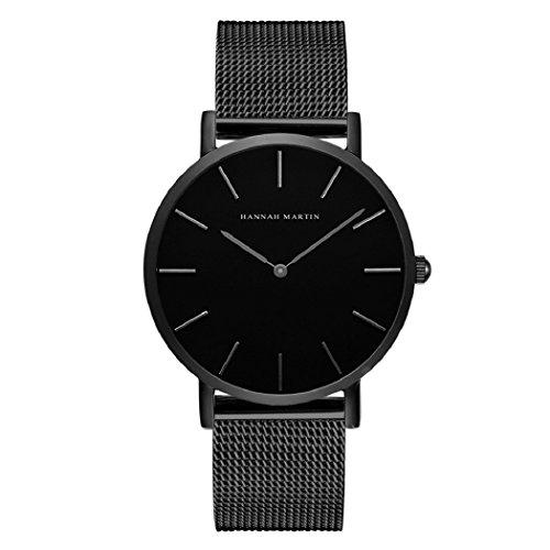Hombre Relojes, L'ananas Estilo Minimalista Impermeable Anolog Negocio Cuarzo Malla Acero Inoxidable Reloj de Pulsera con Caja de Regalo Wristwatch (Negro)