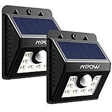 Lamparas Solares 8 LED Impermeable con Sensor de Movimiento Mpow Solar Luz Jardin al Aire Libre de Pared con 3 Modos de Focos Solares,Focos LED Exterior para Jardin Casa Camino Escaleras Pared, Iluminación de Exterior y Seguridad 2 Unidades