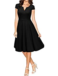 Miusol Damen 50er Vintag Style Swing A-Linie Kleid Dunkelblau Gr.S-XXL