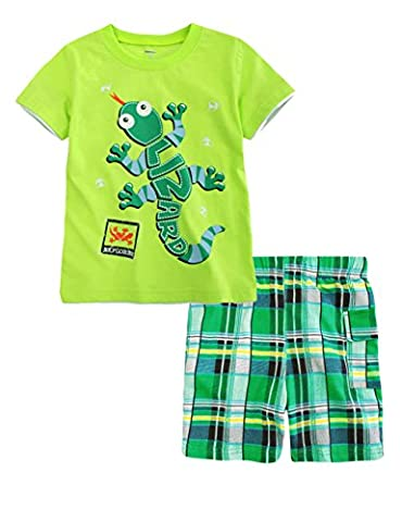 Colorful House Boys' Summer Short Sleeve T-shirt Shorts Set,Lizard,Size 6T