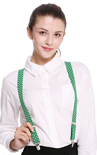 DRESS ME UP - BB-040DG-darkgreen Hosenträger Suspenders Karneval Halloween grün dunkelgrün weiße (Varieté Zirkus Kostüme)