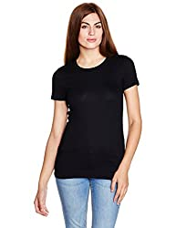 GAP Womens Plain T-Shirt (142250100007_24190213702_True Black_XS)