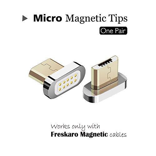 Audio-micro-steckverbinder (Magnetic Micro USB Head-Ladekabel Magnetisch Verbinder, Date Sync und Fast Charging Arbeiten mit FresKaro RF108 USB-Kabel, Ladekabel Zubehör (Metal Micro Head, 2pcs))