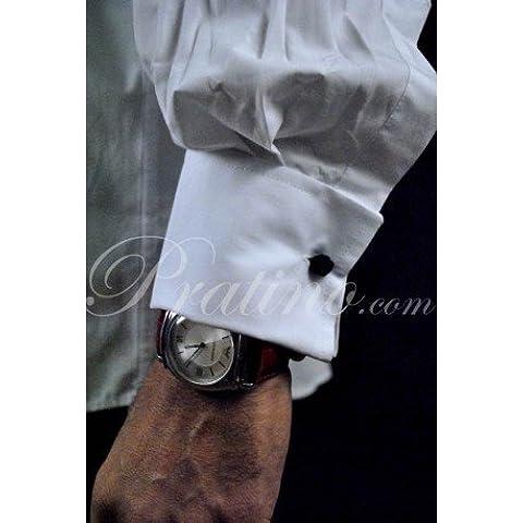 Camicia Uomo Elegante Cerimonia Polsino Gemelli Collo Italia Bianca S M L XL XXL Popeline - M 40/41