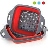 Colador plegable de la cocina plegable 2 piezas cuadradas Lavabo plegable para arriba Tazón de fuente del filtro del silicón Filtro cesta 2 tamaños (Rojo)
