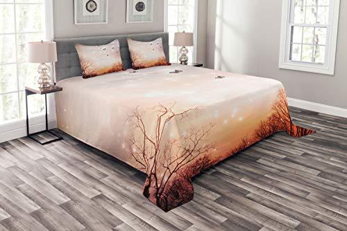 ABAKUHAUS Fantasie Tagesdecke Set, Schmetterlinge Bäume Himmel, Set mit Kissenbezügen Sommerdecke, für Doppelbetten 220 x 220 cm, Baby Pink Orange