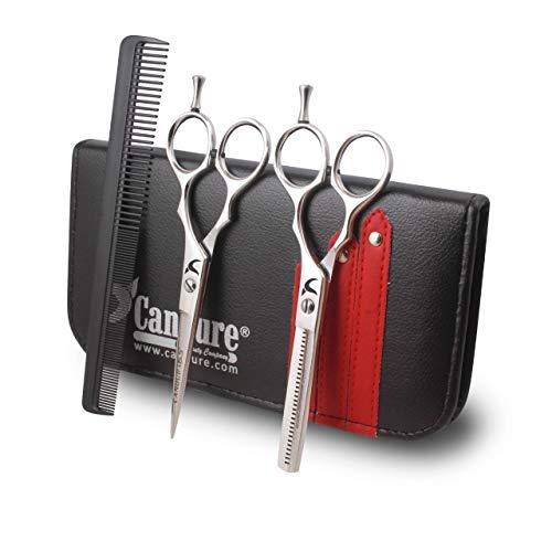 """Candure Profesional Barbero Peluquería Set de tijeras - 5.5""""Acero inoxidable Corte de pelo y Tijeras de reducción con Peine y bolsa"""