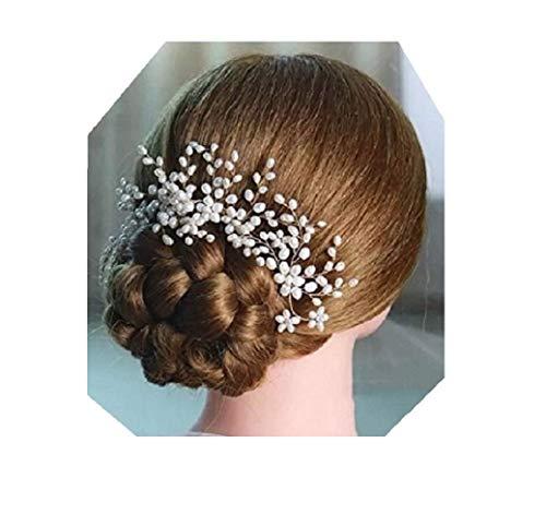 Lia Fashion Vintage Haarschmuck, 3 Stück Steck-Kamm, Hochzeit, Perlen elegant Braut Retrostil Haarkamm Diadem Haarschmuck klar, Perlen, silber ivory
