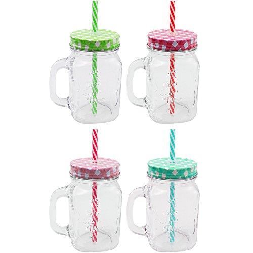 COM-FOUR® 4x Glas mit Strohhalm und Deckel, Trinkgläser in Einmachglas-Optik mit Henkel, 450ml [Farbe variiert] (Gläser 450ml)